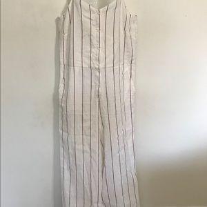 Sessun jump suit L straps striped linenX wide leg